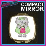 GREEN ELEPHANT COMPACT LADIES METAL HANDBAG GIFT MIRROR